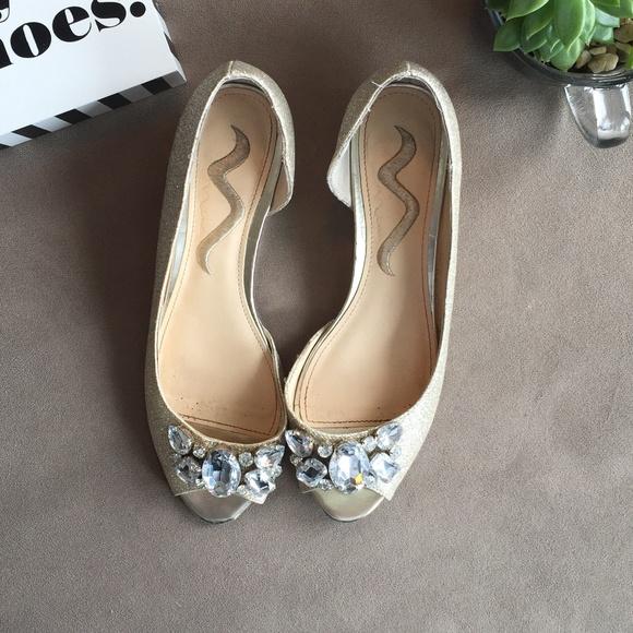 a138e6f6bc Nina Shoes | Jeweled Glittered Peep Toes Wedges | Poshmark